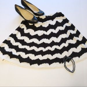 INC black and white zigzag chevron a-line skirt